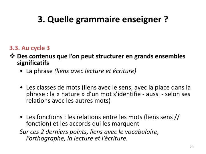 3. Quelle grammaire enseigner ?