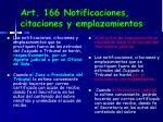 art 166 notificaciones citaciones y emplazamientos