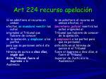 art 224 recurso apelaci n