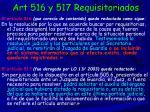 art 516 y 517 requisitoriados