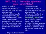 art 783 traslados apertura juicio oral proas