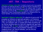 art 784 requisitoria