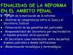 finalidad de la reforma en el ambito penal