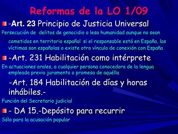 Reformas de la LO 1/09