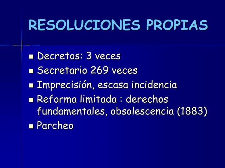 RESOLUCIONES PROPIAS