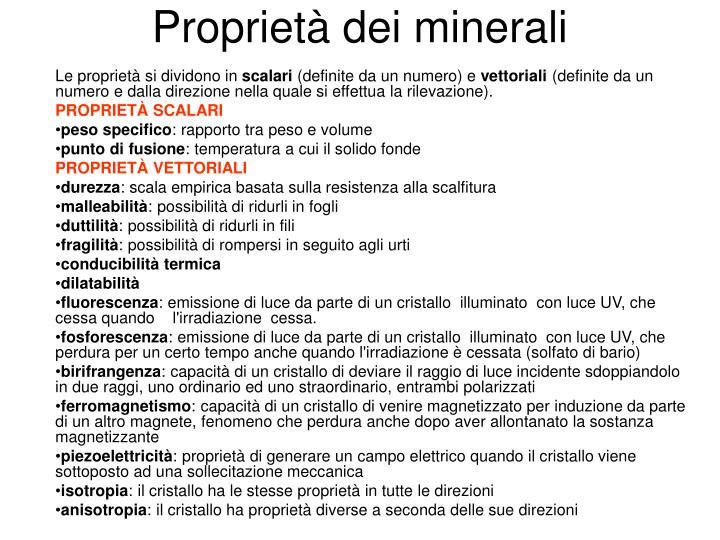 Proprietà dei minerali