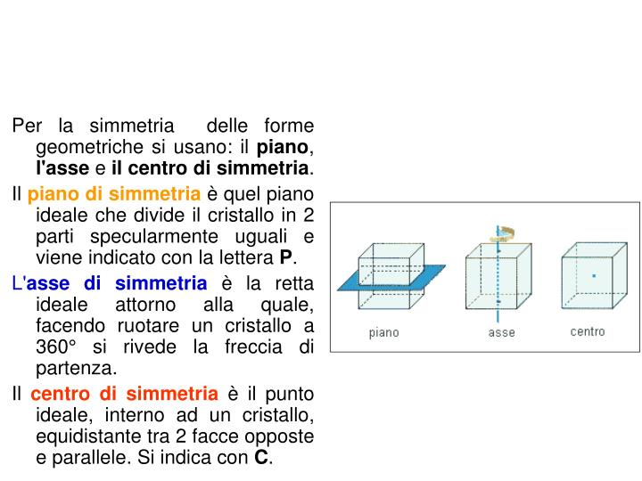 Per la simmetria  delle forme geometriche si usano: il