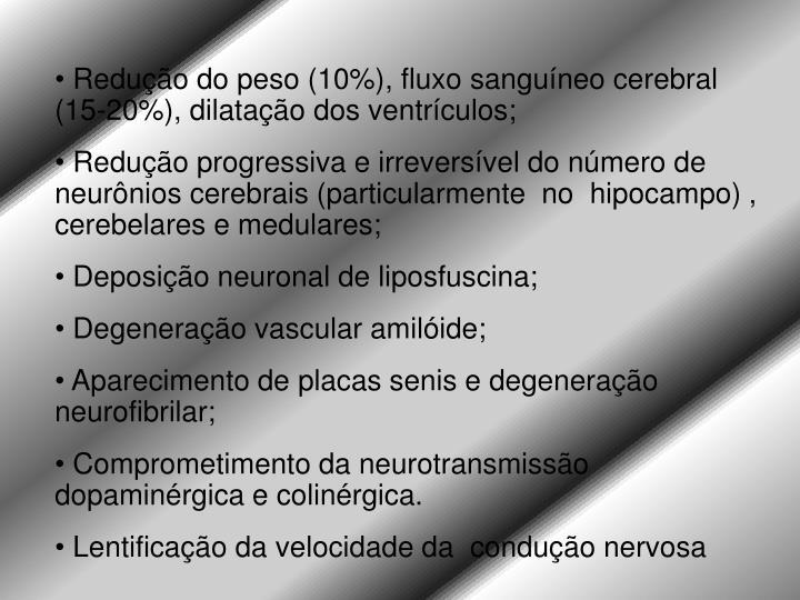 Redução do peso (10%), fluxo sanguíneo cerebral (15-20%), dilatação dos ventrículos;