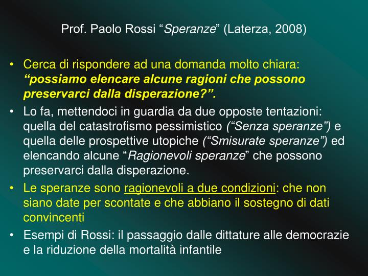 Prof. Paolo Rossi ""