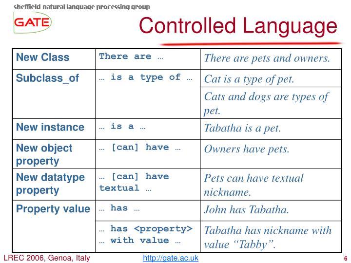 Controlled Language