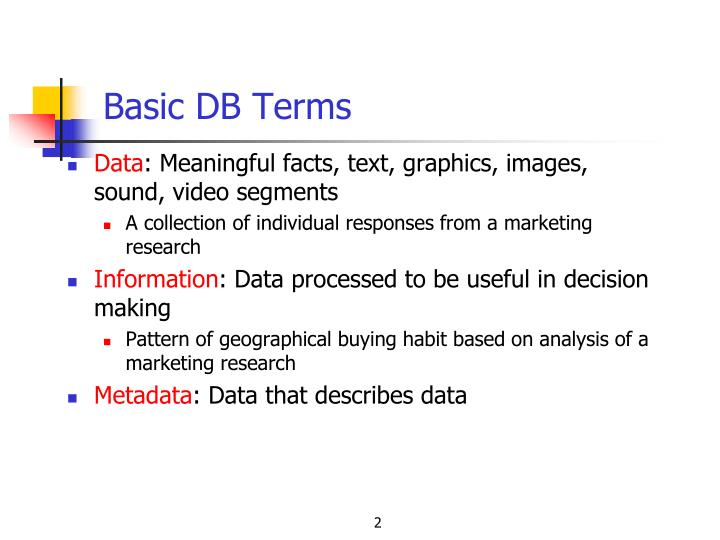 Basic DB Terms