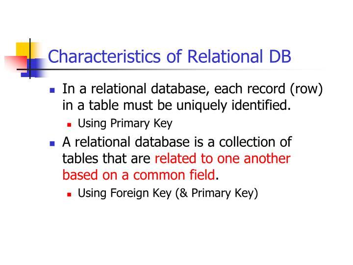 Characteristics of Relational DB