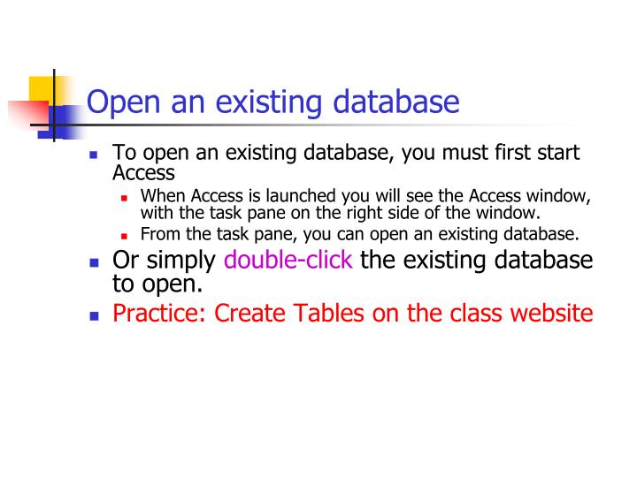 Open an existing database
