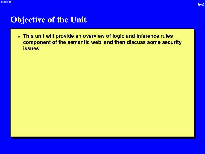 Objective of the unit