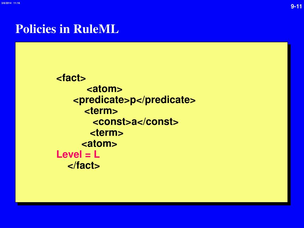 Policies in RuleML