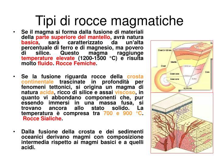 Tipi di rocce magmatiche