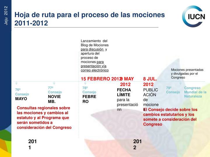 Hoja de ruta para el proceso de las mociones 2011-2012