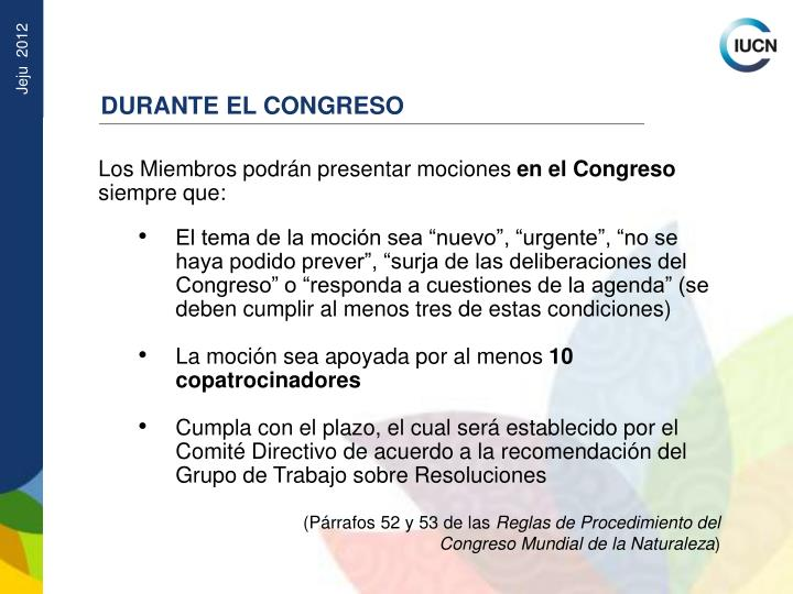 DURANTE EL CONGRESO