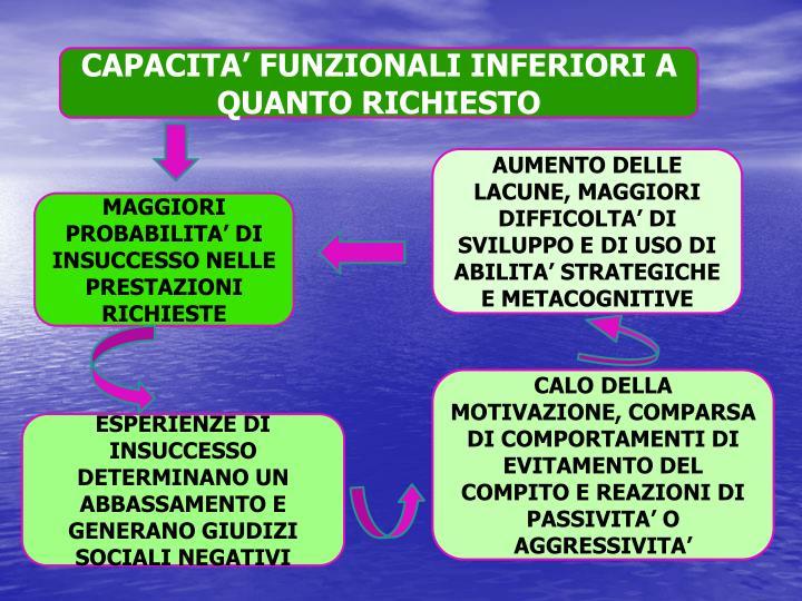 CAPACITA' FUNZIONALI INFERIORI A QUANTO RICHIESTO