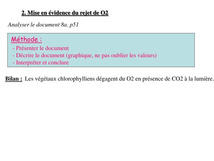 2. Mise en évidence du rejet de O2