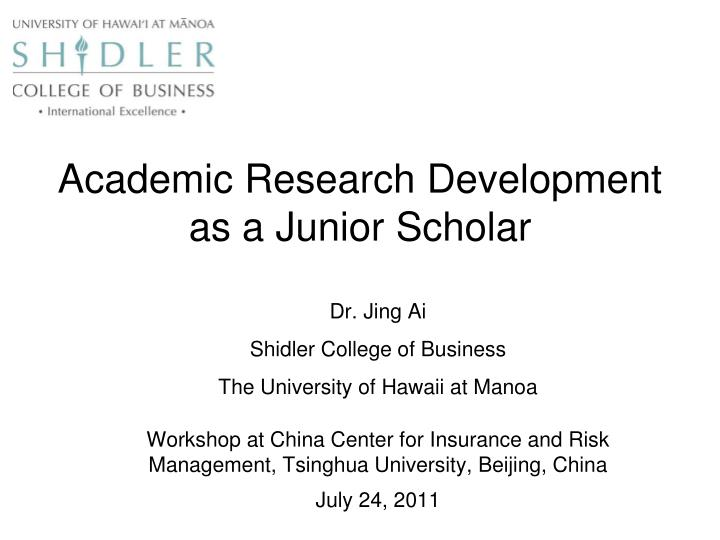 Academic research development as a junior scholar