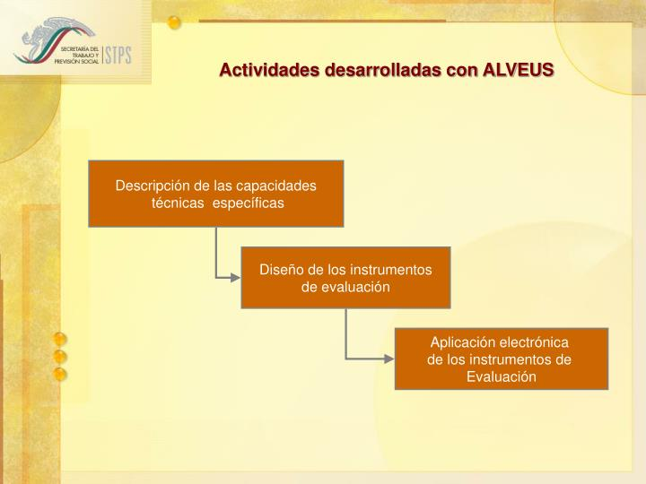 Actividades desarrolladas con ALVEUS