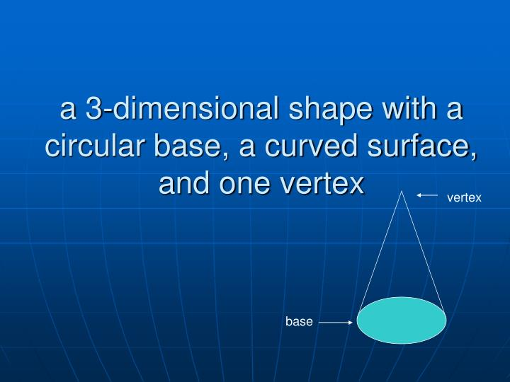 a 3-dimensional shape with a circular base, a curved surface, and one vertex
