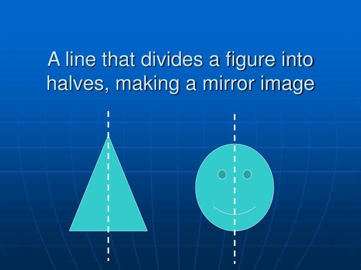 A line that divides a figure into halves, making a mirror image
