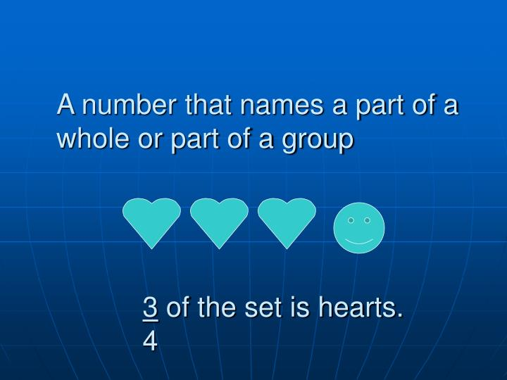 A number that names a part of a whole or part of a group