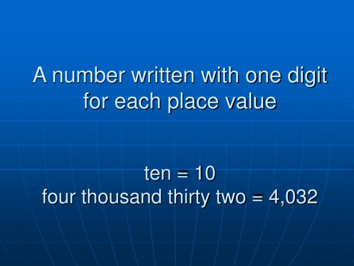 A number written with one digit for each place value