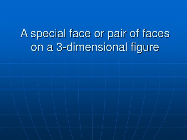 A special face or pair of faces on a 3-dimensional figure