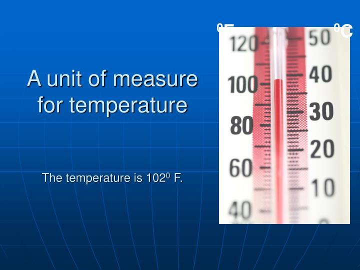 A unit of measure for temperature