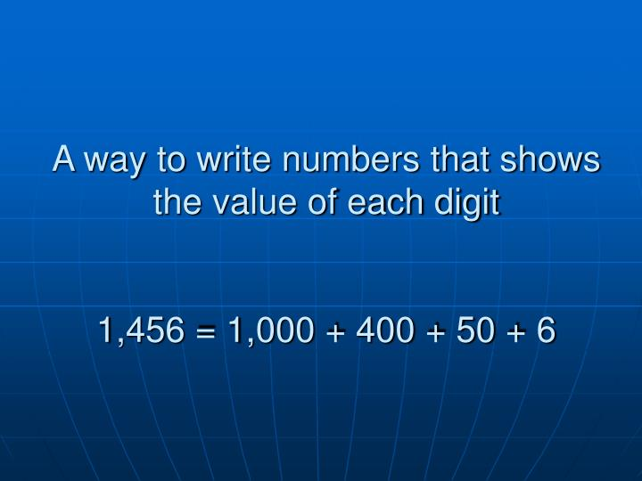 A way to write numbers that shows the value of each digit