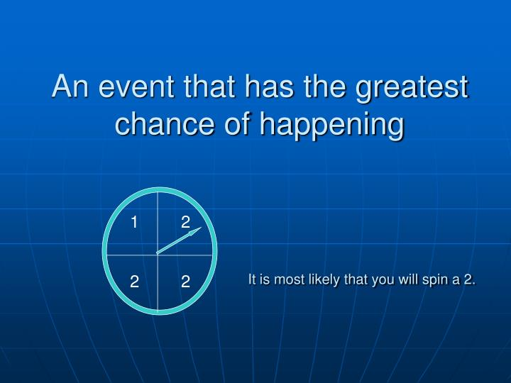 An event that has the greatest chance of happening