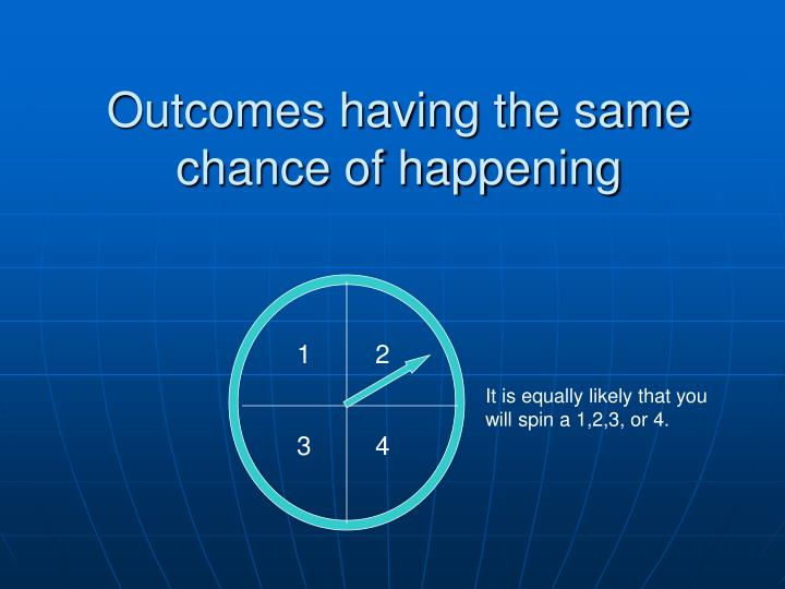 Outcomes having the same chance of happening