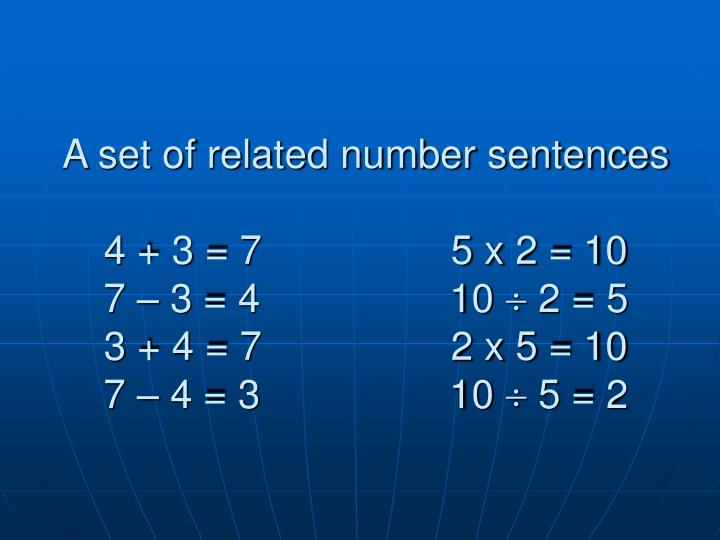 A set of related number sentences