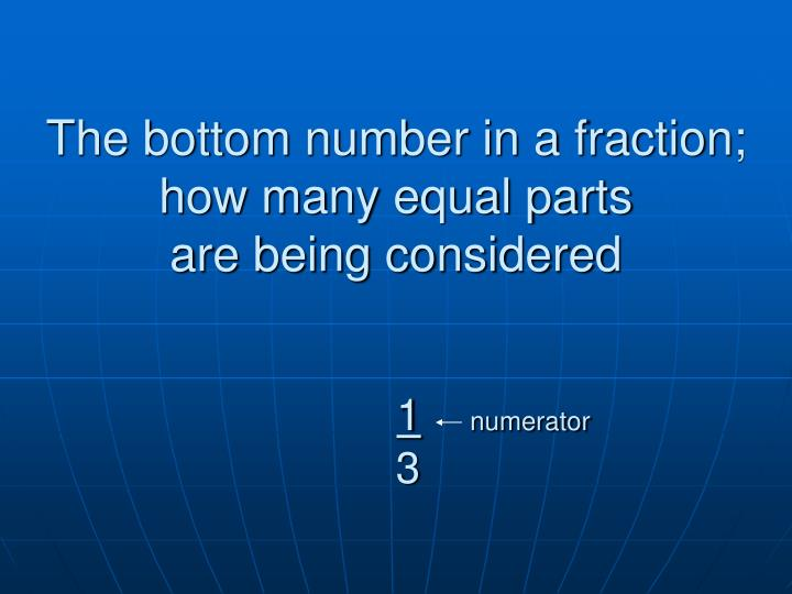 The bottom number in a fraction; how many equal parts