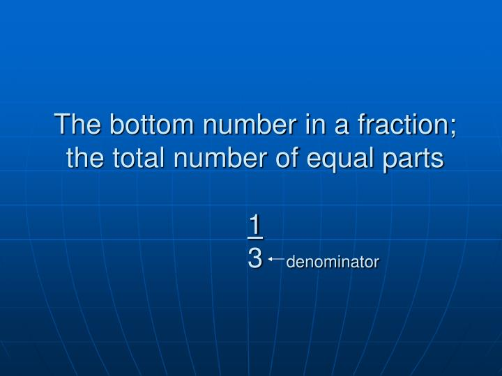 The bottom number in a fraction; the total number of equal parts