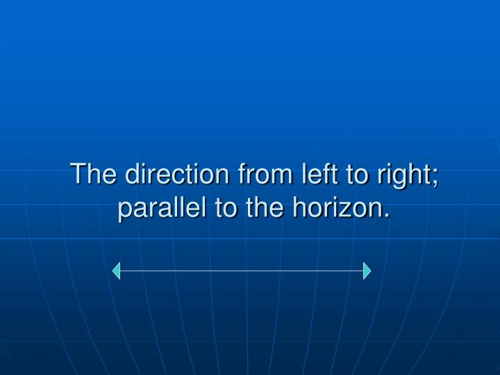 The direction from left to right; parallel to the horizon.
