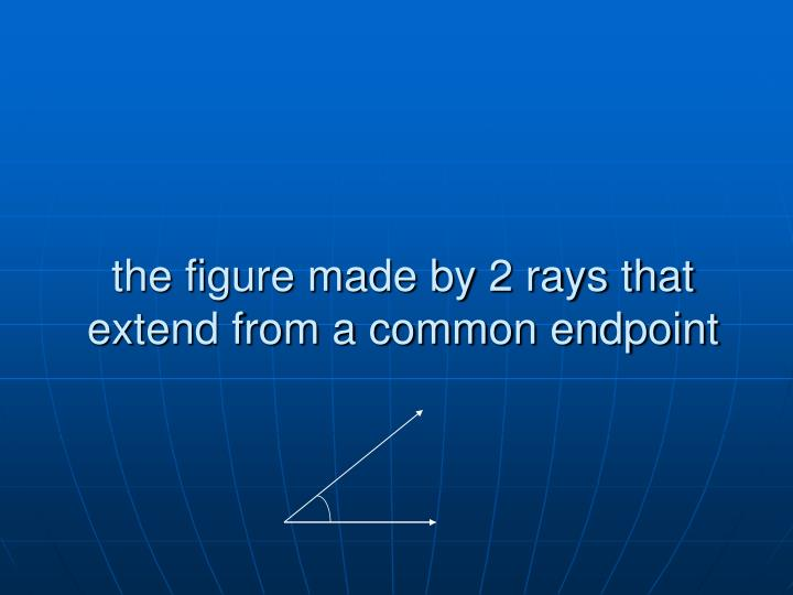 the figure made by 2 rays that extend from a common endpoint