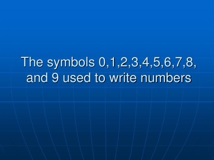 The symbols 0,1,2,3,4,5,6,7,8, and 9 used to write numbers