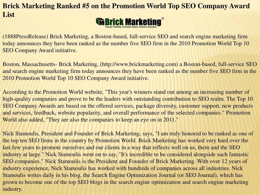 Brick Marketing Ranked #5 on the Promotion World Top SEO Company Award List