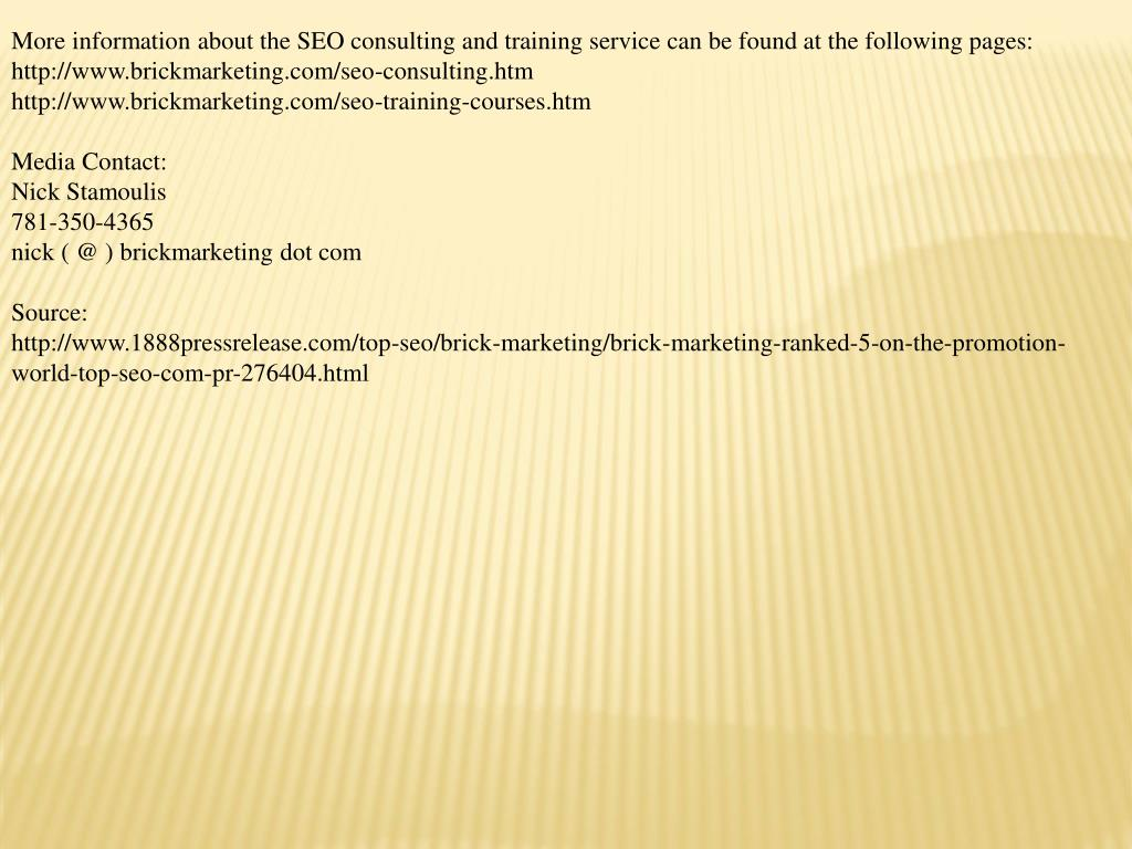 More information about the SEO consulting and training service can be found at the following pages: