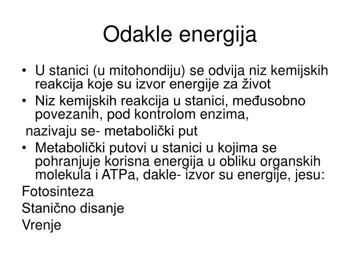 Odakle energija