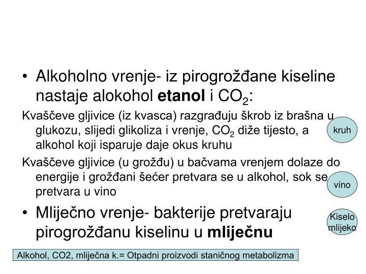 Alkoholno vrenje- iz pirogrožđane kiseline nastaje alokohol