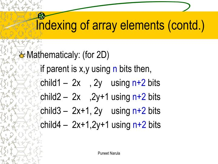 Indexing of array elements (contd.)