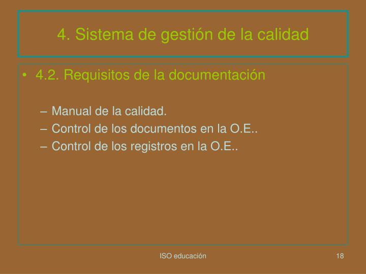 4. Sistema de gestión de la calidad