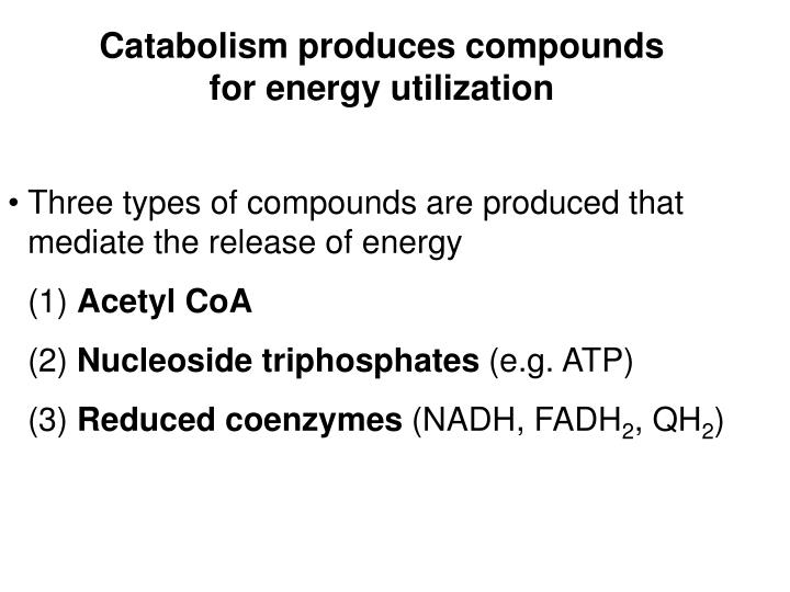 Catabolism produces compounds