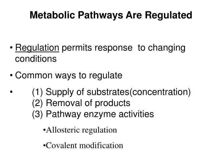 Metabolic Pathways Are Regulated