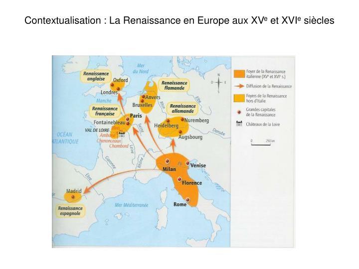 Contextualisation : La Renaissance en Europe aux XV